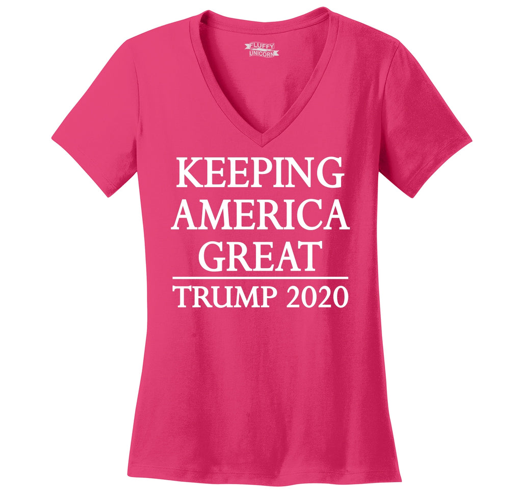 Keeping America Great Trump 2020 Ladies Ringspun V-Neck Tee