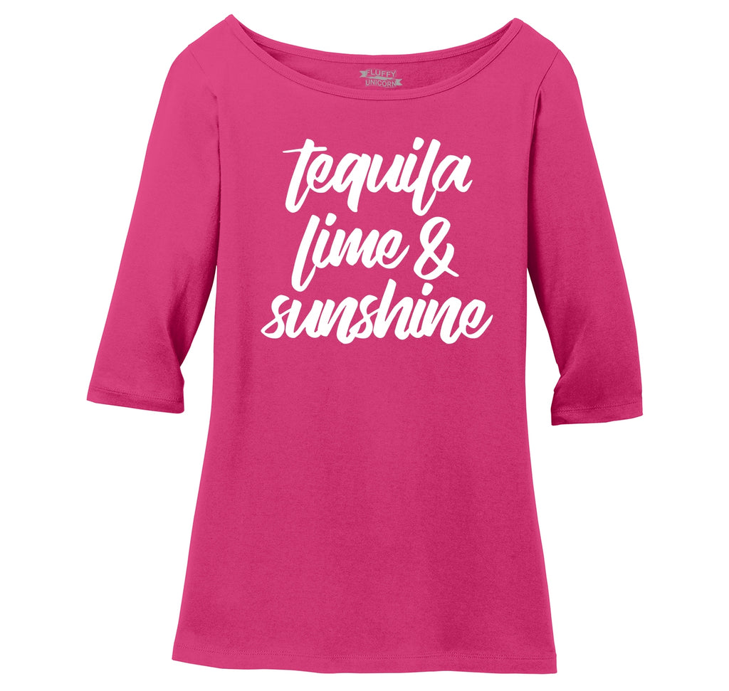 Tequila Lime and Sunshine Ladies Wide Neck 3/4 Sleeve Tee