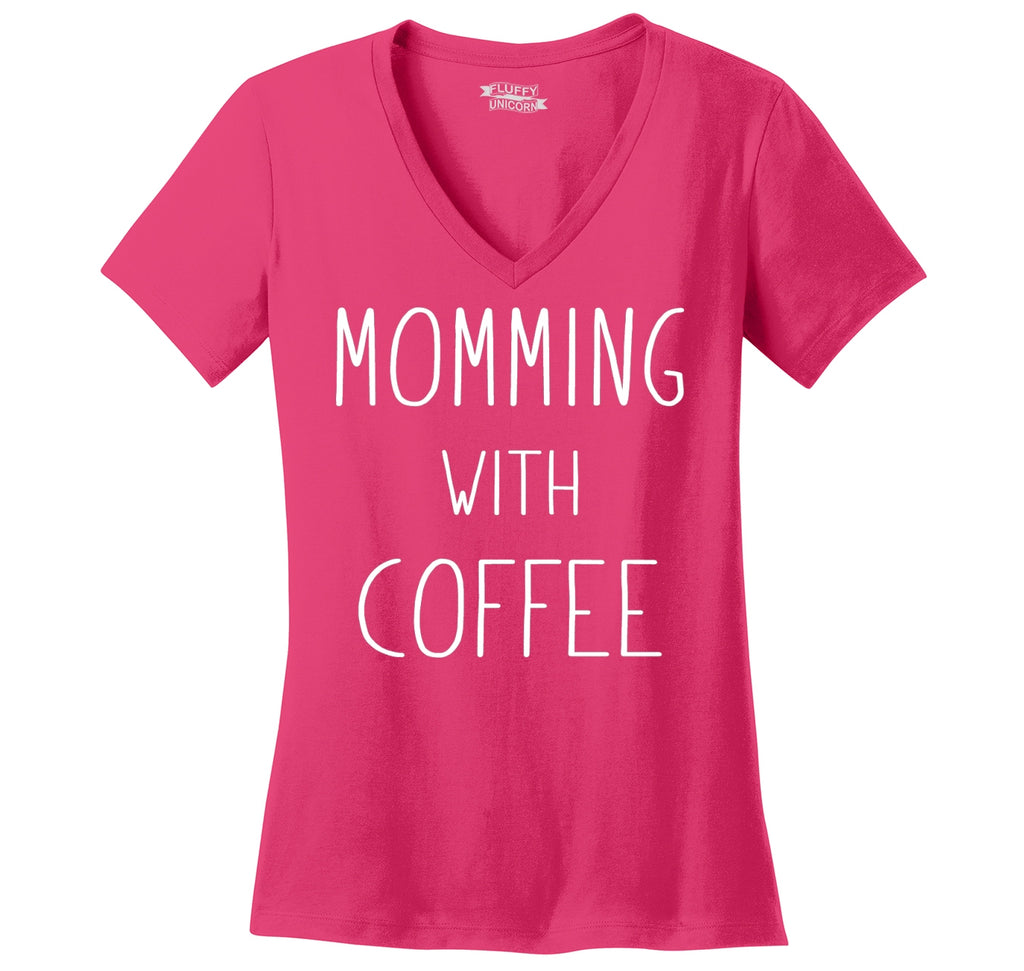 Momming With Coffee Ladies Ringspun V-Neck Tee