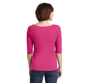 Merry Christmas Ladies Wide Neck 3/4 Sleeve Tee