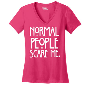 Normal People Scare Me Ladies Ringspun V-Neck Tee