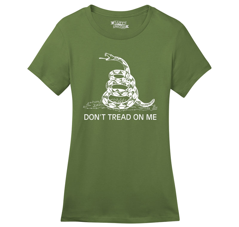 Gadsden Flag Don't Tread On Me Ladies Ringspun Short Sleeve Tee
