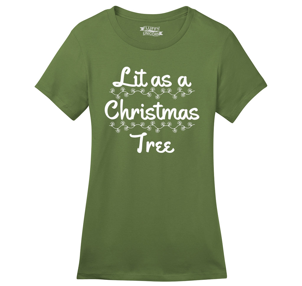 Lit As A Christmas Tree Ladies Ringspun Short Sleeve Tee