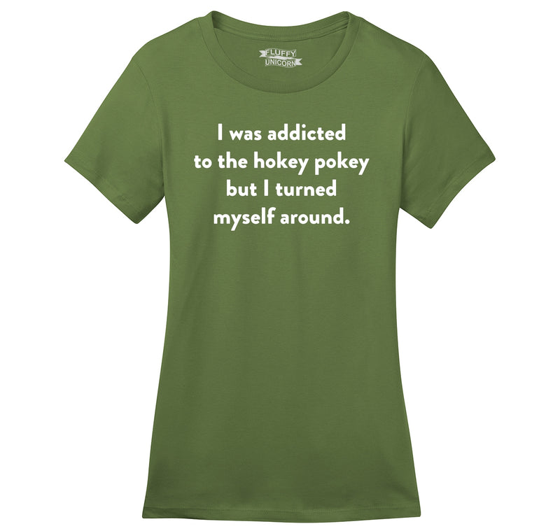 Addicted To Hokey Pokey Funny T Shirt Cute Party Humor Tee Ladies Ringspun Short Sleeve Tee