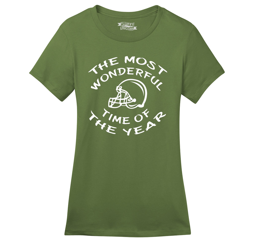 The Most Wonderful Time Of The Year Football Ladies Ringspun Short Sleeve Tee