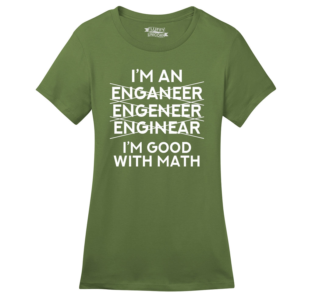 I'm An Engineer Good With Math Ladies Ringspun Short Sleeve Tee