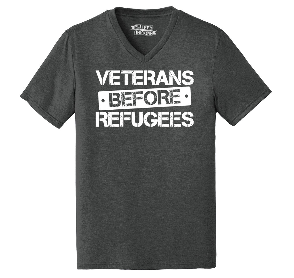 Veterans Before Refugees Tee Refugee Ban Political Republican Tee Mens Tri-Blend V-Neck Tee Shirt