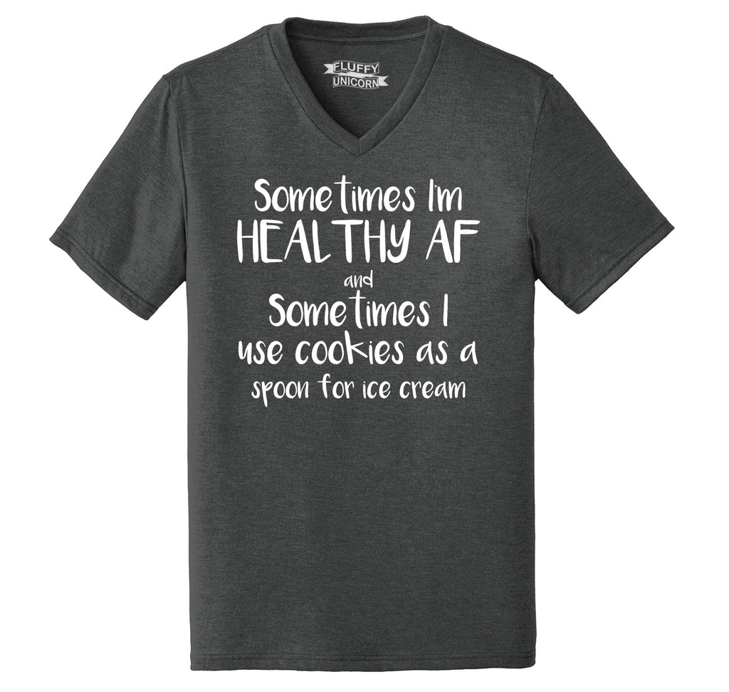 Sometimes I'm Healthy Sometimes Cookies Ice Cream Mens Tri-Blend V-Neck Tee Shirt