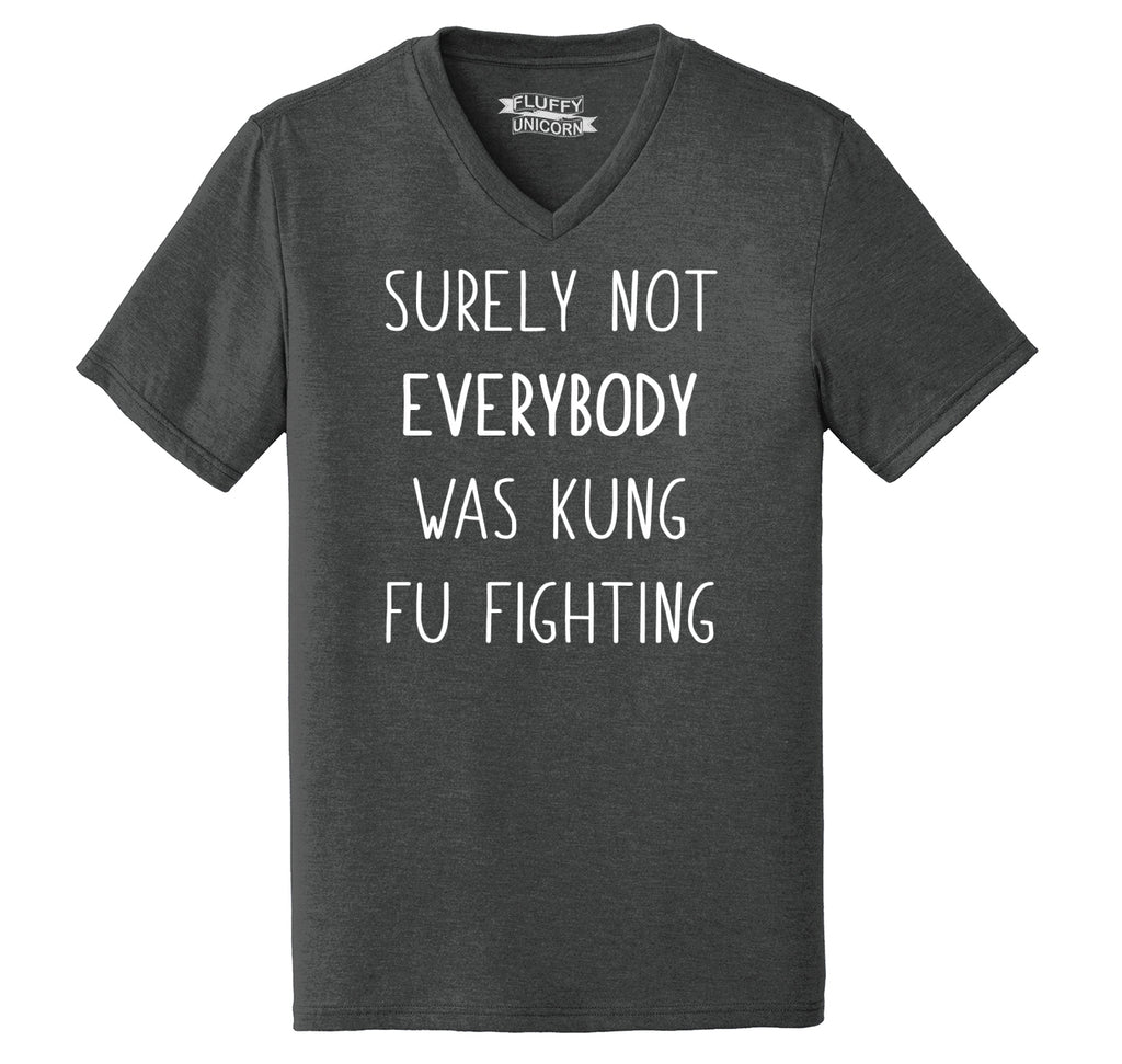 Surely Not Everybody Kung Fu Fighting Mens Tri-Blend V-Neck Tee Shirt