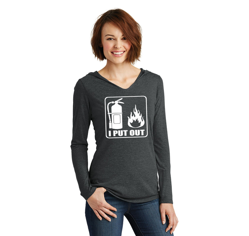 I Put Out Ladies Tri-Blend Hooded Tee