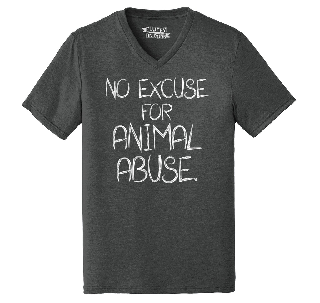 No Excuse For Animal Abuse Mens Tri-Blend V-Neck Tee Shirt