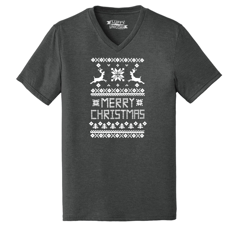 Merry Christmas Ugly Sweater Xmas Tee Mens Tri-Blend V-Neck Tee Shirt