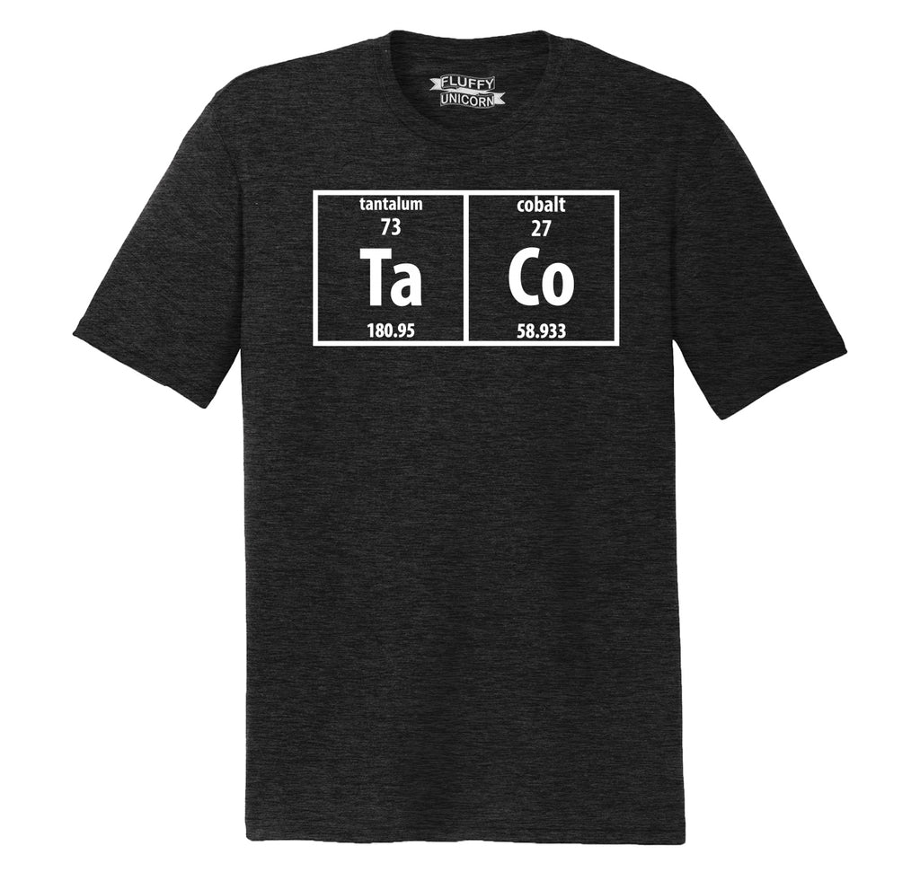 Taco Periodic Table Funny Science Shirt Geek Nerd College Mens Short Sleeve Tri-Blend Shirt
