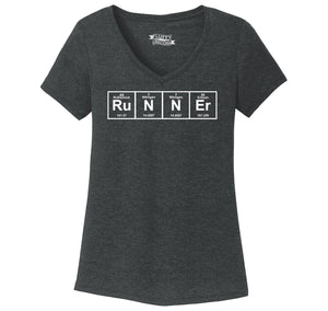 Runner - Periodic Table Of Elements Ladies Tri-Blend V-Neck Tee Shirt
