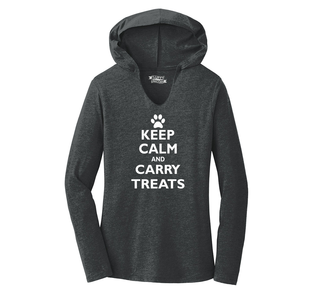 Keep Calm and Carry Treats Ladies Tri-Blend Hooded Tee