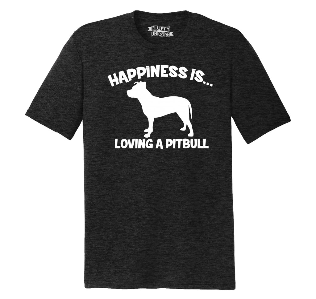 Happiness Is Loving A Pitbull Mens Short Sleeve Tri-Blend Shirt