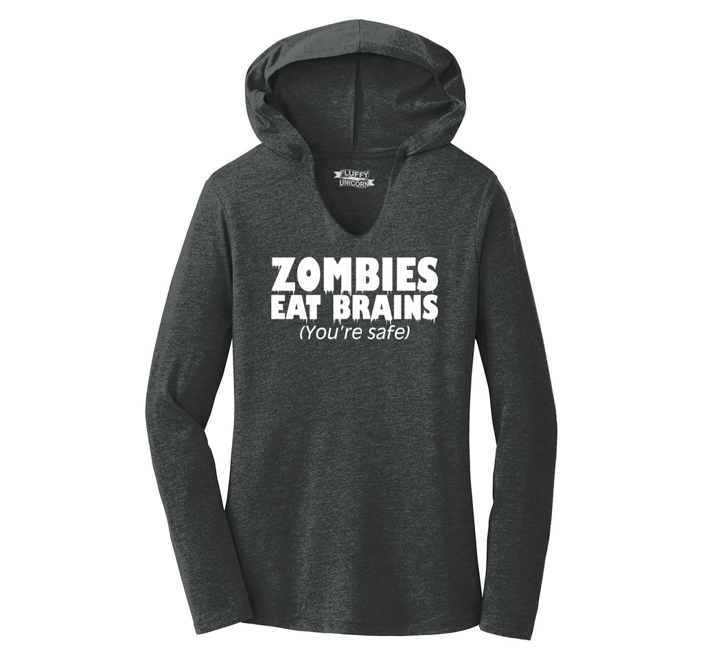 Zombies Eat Brains You're Safe Funny T Shirt Halloween Party Tee Ladies Tri-Blend Hooded Tee