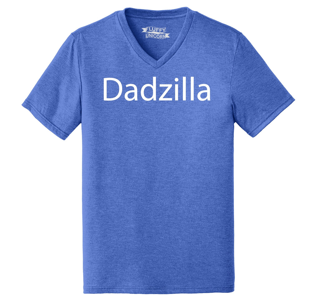 Dadzilla Tee Father's Day Valentine's Day Husband Dad Gift Tee Mens Tri-Blend V-Neck Tee Shirt