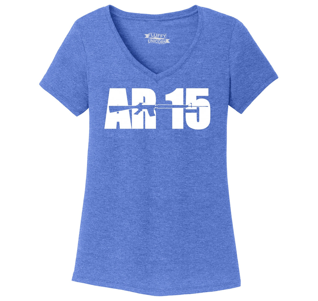 AR15 Gun Rights Hunting Tee Ladies Tri-Blend V-Neck Tee Shirt