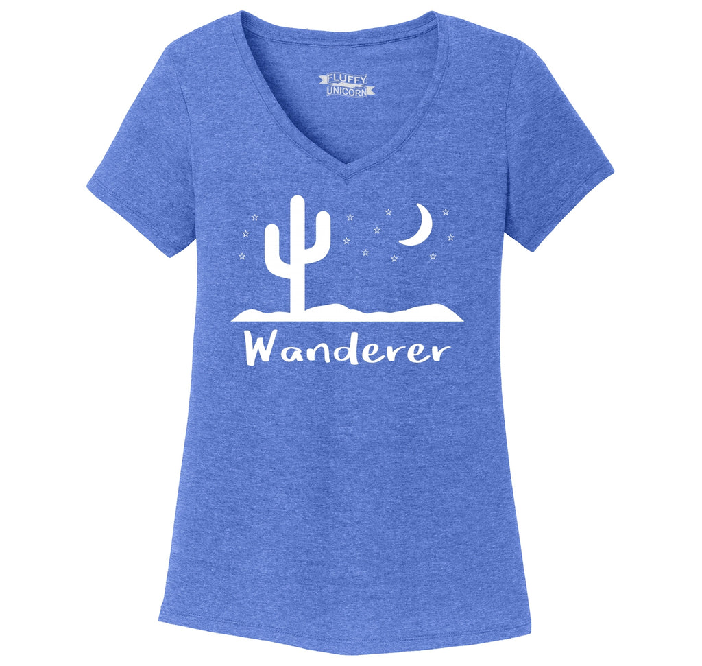 Wanderer Graphic Tee Ladies Tri-Blend V-Neck Tee Shirt
