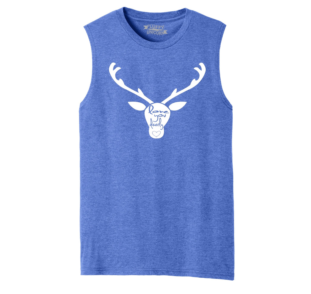 Love You Deerly Graphic Tee Mens Muscle Tank Muscle Tee