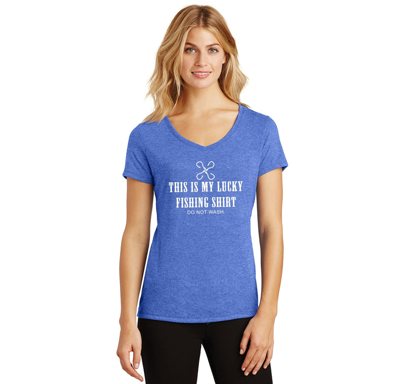 This Is My Lucky Fishing Shirt Do Not Wash Ladies Tri-Blend V-Neck Tee Shirt