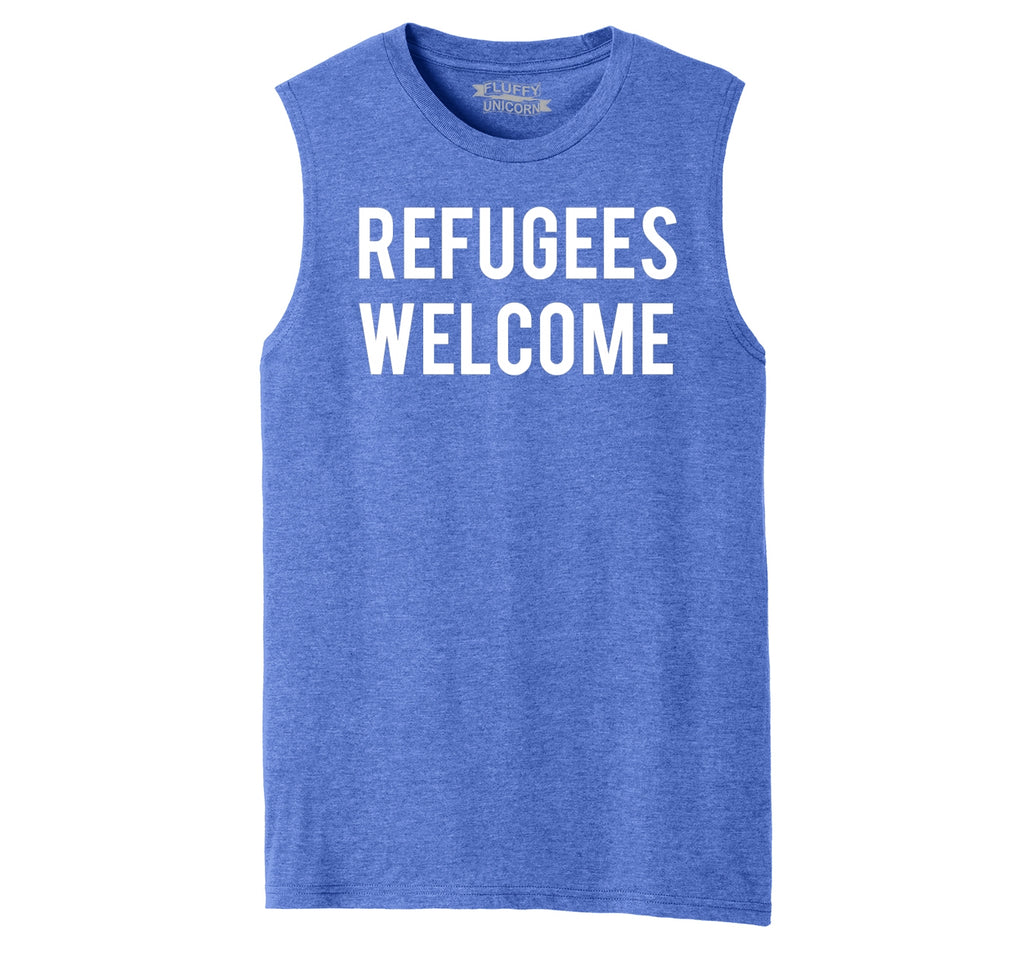 Refugees Welcome Tee Anti Trump Protest Muslim Peace USA Tee Mens Muscle Tank Muscle Tee