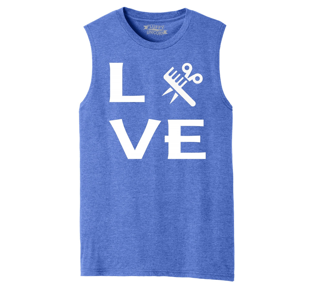 Love Hairstylist Cute Barber Gift Tee Mens Muscle Tank Muscle Tee