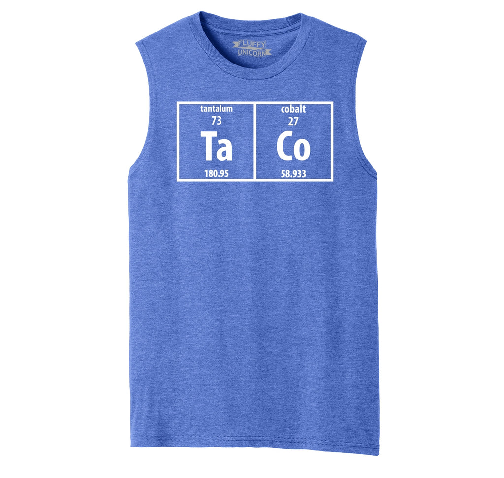 Taco Periodic Table Funny Science Shirt Geek Nerd College Mens Muscle Tank Muscle Tee