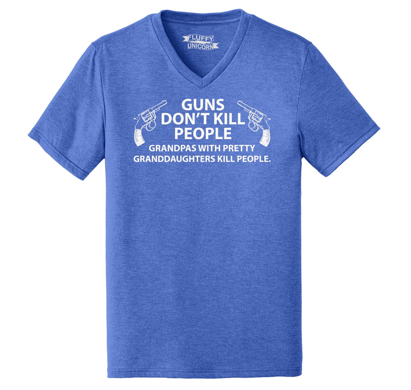Guns Don't Kill People Grandpas Mens Tri-Blend V-Neck Tee Shirt