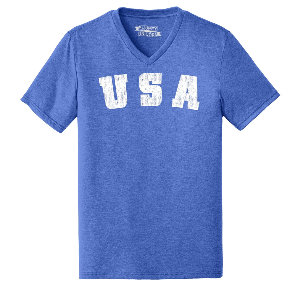 Distressed USA T Shirt American Pride Patriotic Home Gift Tee Mens Tri-Blend V-Neck Tee Shirt