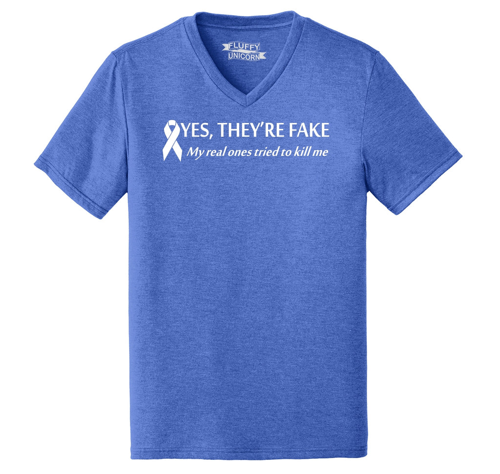 Yes They're Fake My Real Ones Tried To Kill Me Breast Cancer Awareness Shirt Mens Tri-Blend V-Neck Tee Shirt
