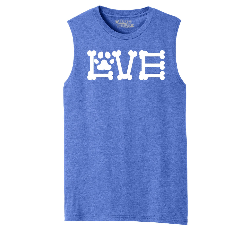 Love Dogs Dog Bone Puppy Lover Mens Muscle Tank Muscle Tee