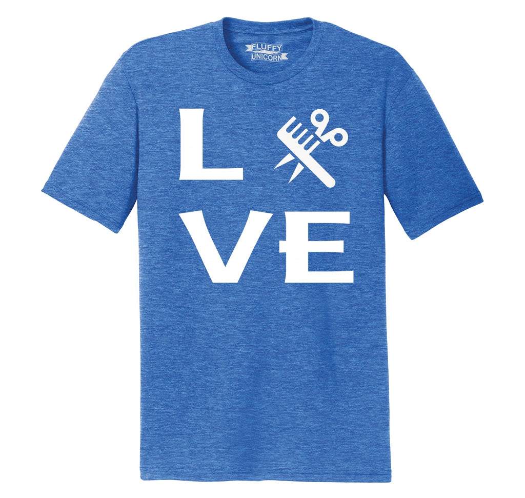 Love Hairstylist Cute Barber Gift Tee Mens Short Sleeve Tri-Blend Shirt