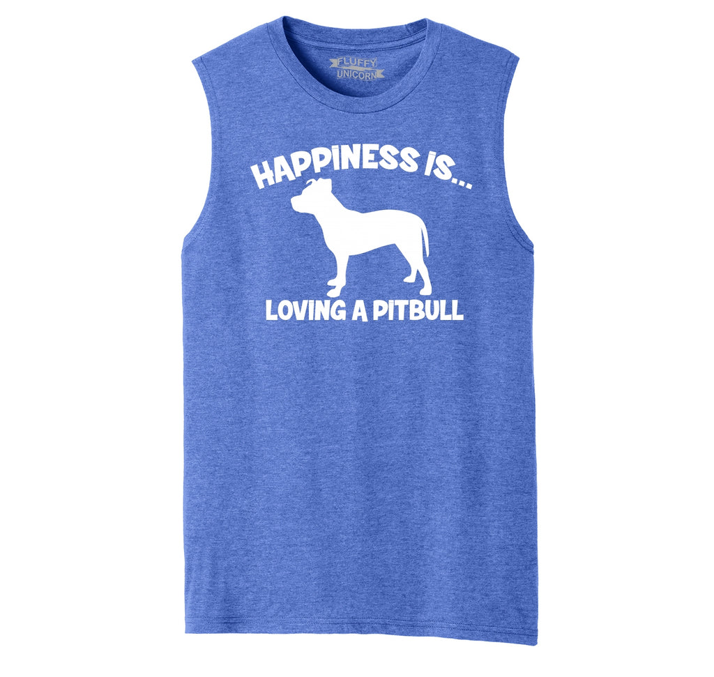 Happiness Is Loving A Pitbull Mens Muscle Tank Muscle Tee