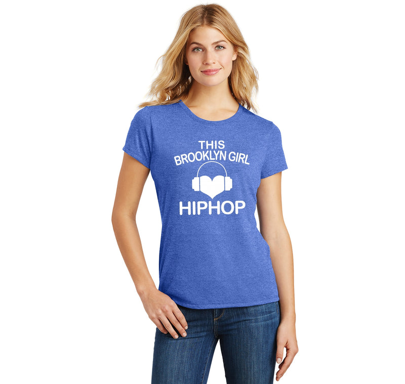 This Brooklyn Girl Loves Hip Hop Ladies Short Sleeve Tri-Blend Shirt