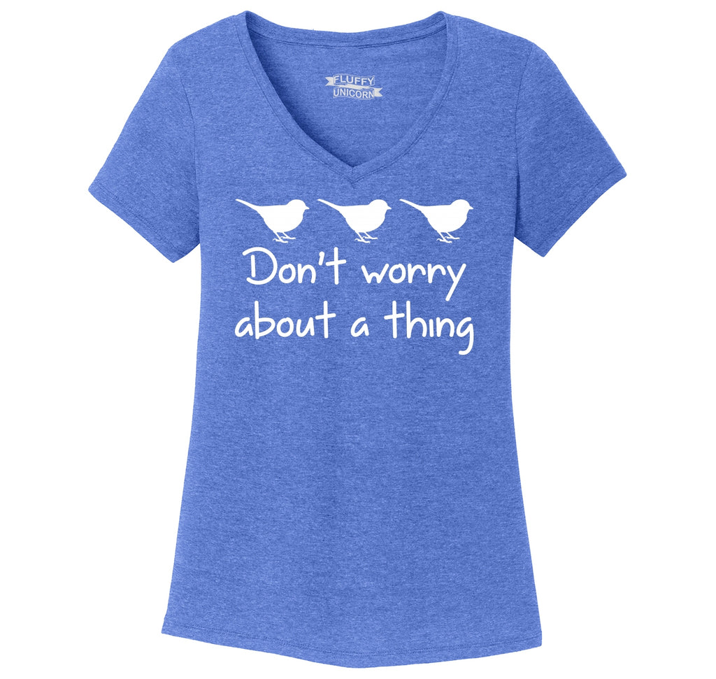 Don't Worry About A Thing Ladies Tri-Blend V-Neck Tee Shirt