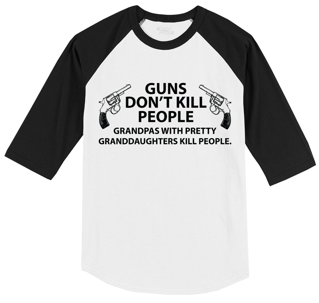 Guns Don't Kill People Grandpas Mens 3/4 Sleeve Raglan Jersey