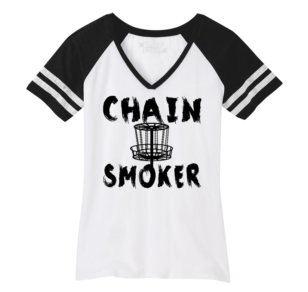 Chain Smoker Ladies Short Sleeve Game V-Neck Shirt