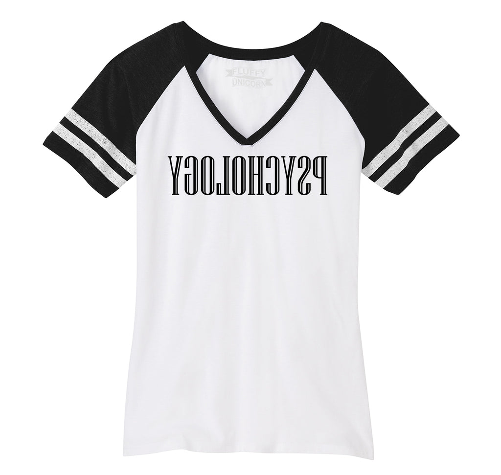 Reverse Psychology Ladies Short Sleeve Game V-Neck Shirt