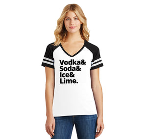 Vodka Soda Ice And Lime Ladies Short Sleeve Game V-Neck Shirt