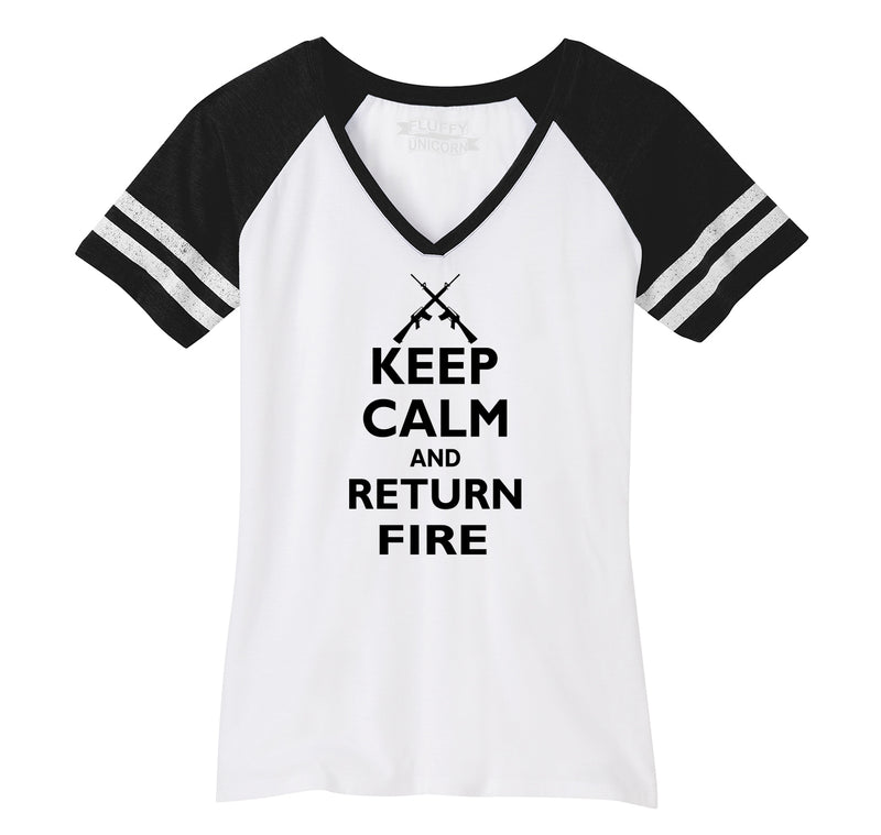 Keep Calm and Return Fire Ladies Short Sleeve Game V-Neck Shirt