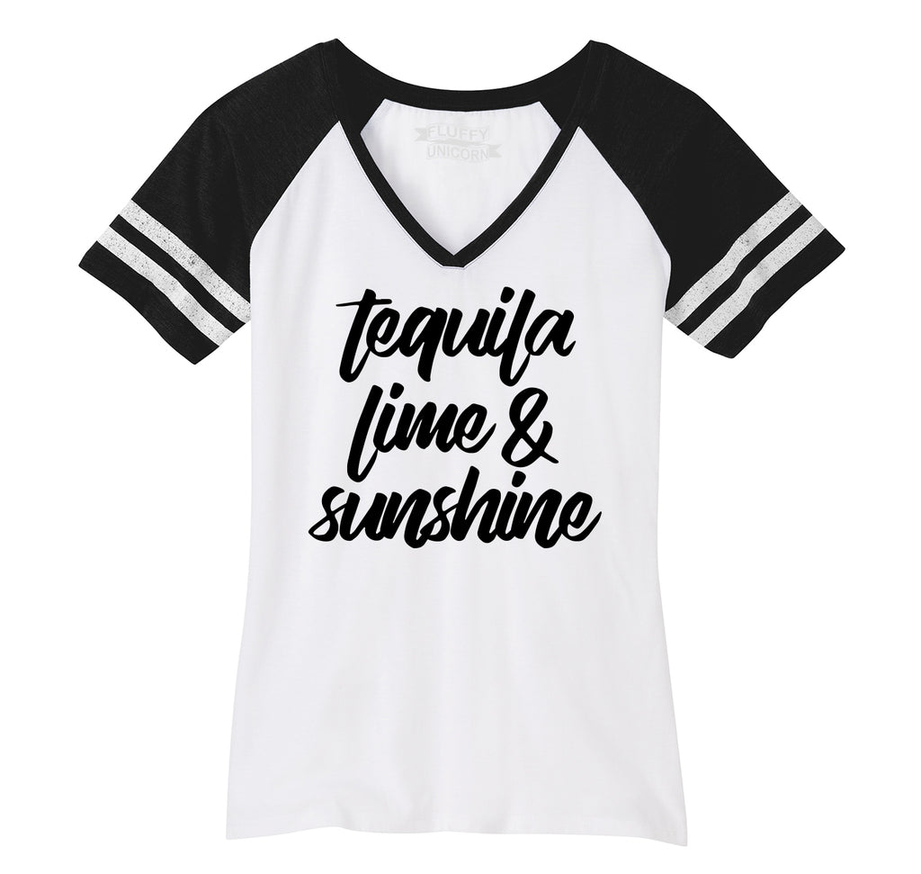 Tequila Lime and Sunshine Ladies Short Sleeve Game V-Neck Shirt