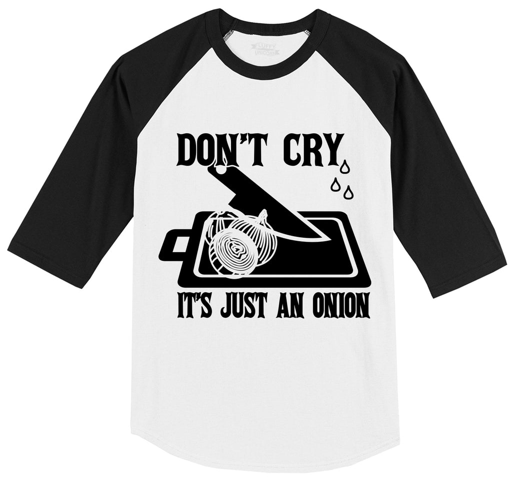 Don't Cry It's Just An Onion Mens 3/4 Sleeve Raglan Jersey