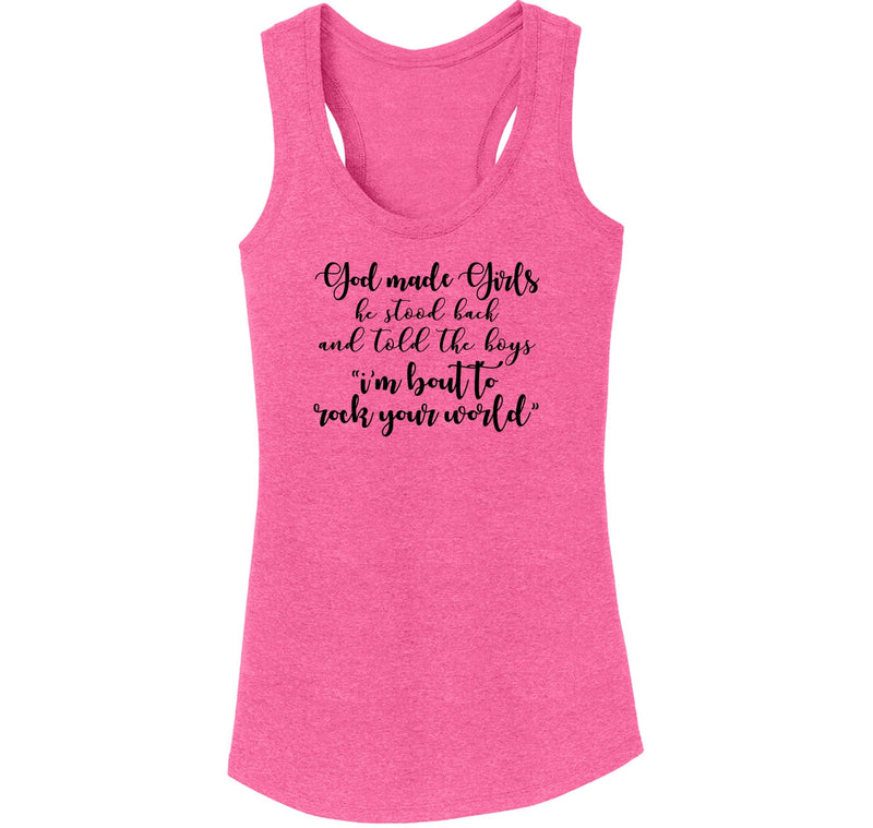 God Made Girls Ladies Tri-Blend Racerback Tank Top