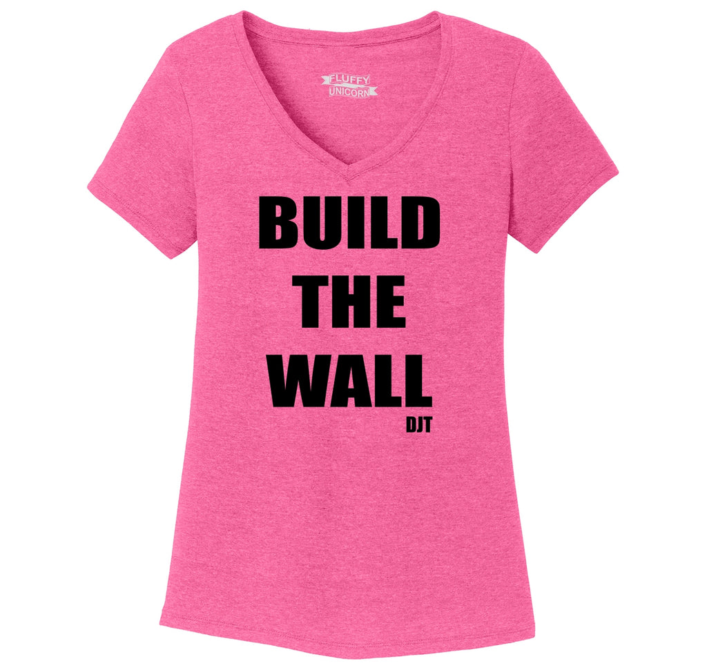 Build The Wall DJT Ladies Tri-Blend V-Neck Tee Shirt