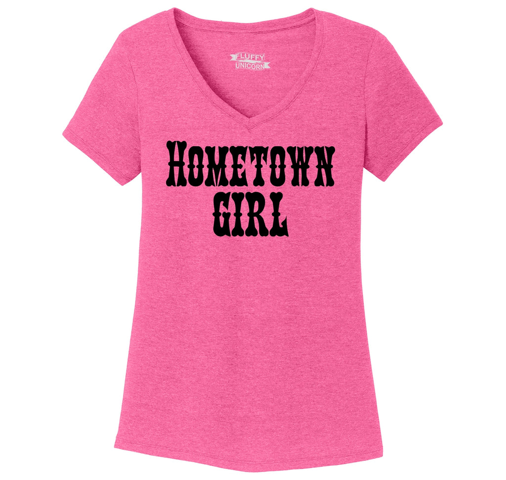 Hometown Girl Ladies Tri-Blend V-Neck Tee Shirt
