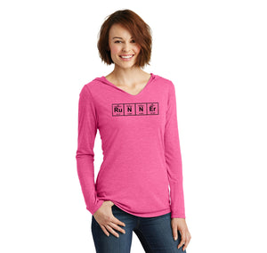 Runner - Periodic Table Of Elements Ladies Tri-Blend Hooded Tee