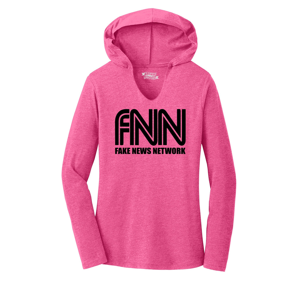 FNN Fake News Network Funny Political Trump Tee Ladies Tri-Blend Hooded Tee