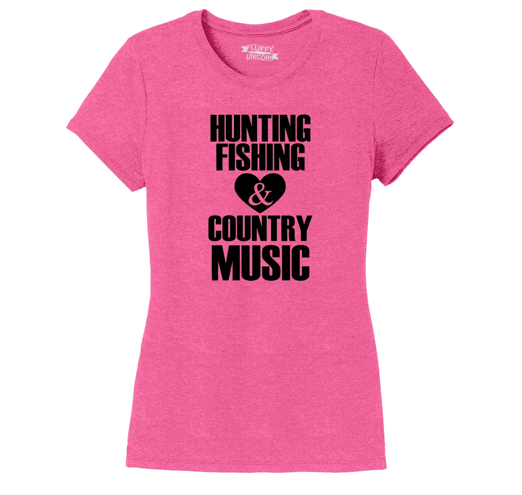 Hunting Fishing And Country Music Ladies Short Sleeve Tri-Blend Shirt